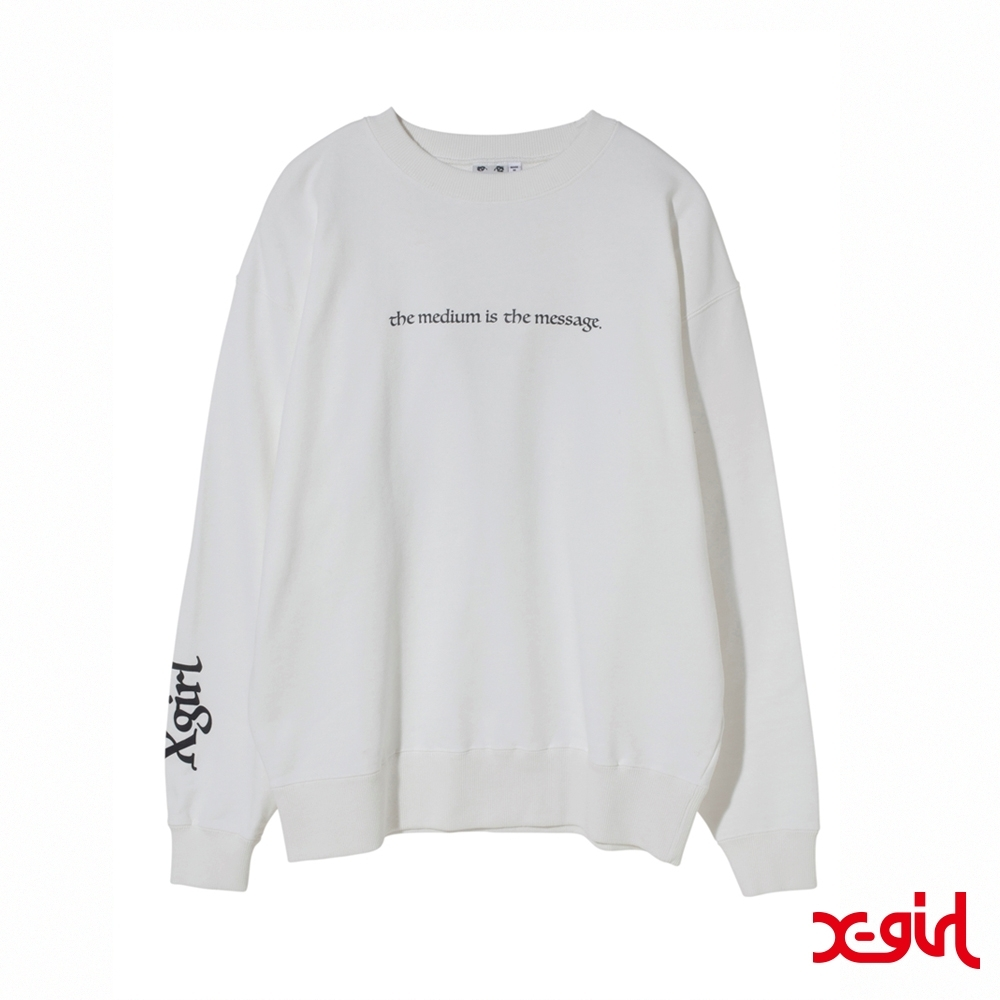 X-girl PSYCHEDELIC FACE CREW SWEAT TOP大學T-白