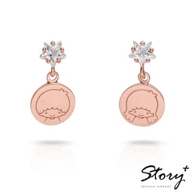 STORY故事銀飾-雙子星系列-KikiLala星光純銀耳環(玫瑰金)