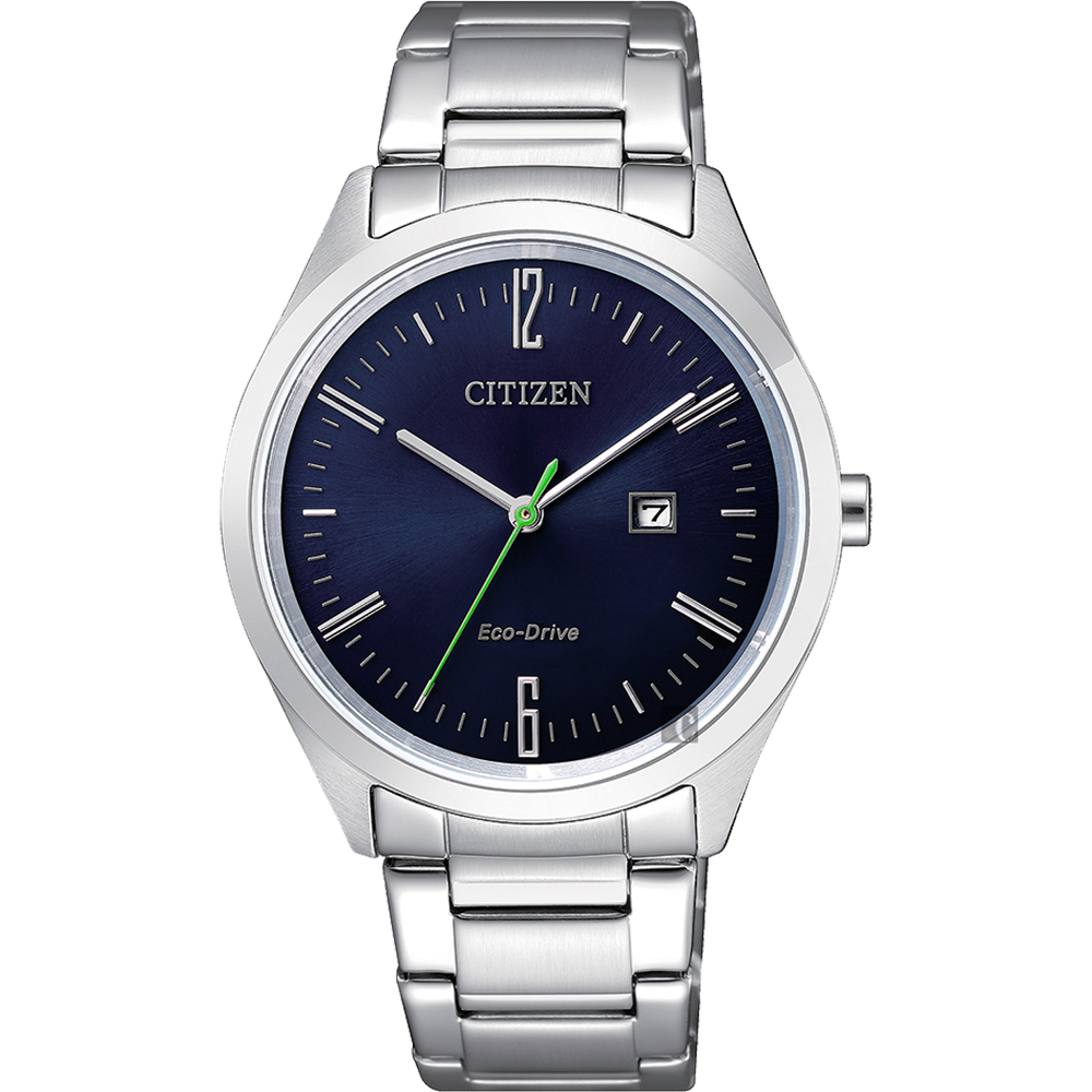 CITIZEN 星辰 Eco-Drive 光動能時尚女錶-藍x銀/34mm