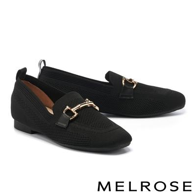 低跟鞋 MELROSE 復古經典馬銜釦飛織布樂福低跟鞋-黑