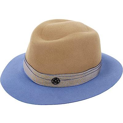 Maison Michel ANDRE 撞色織帶兔毛氈軟呢紳士帽(駝x藍)