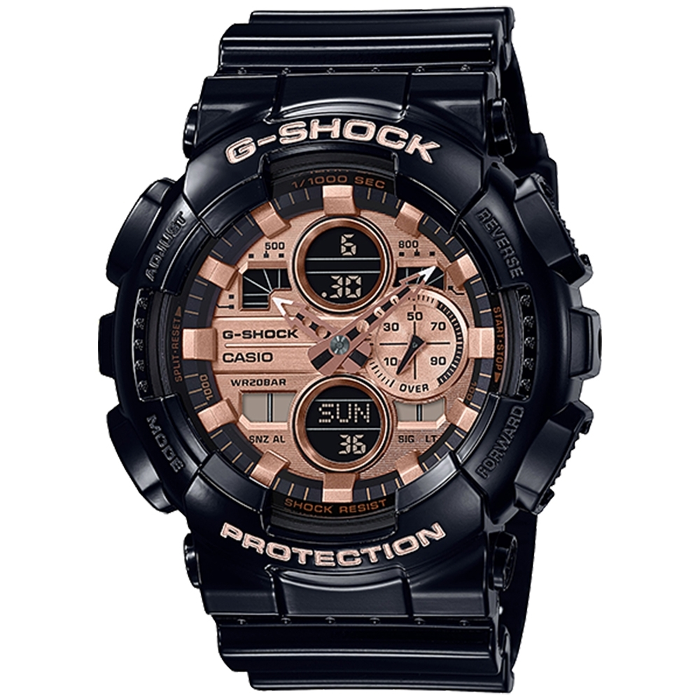 CASIO 卡西歐G-SHOCK雙顯耐衝擊構造防磁錶-玫瑰金(GA-140GB-1A2)