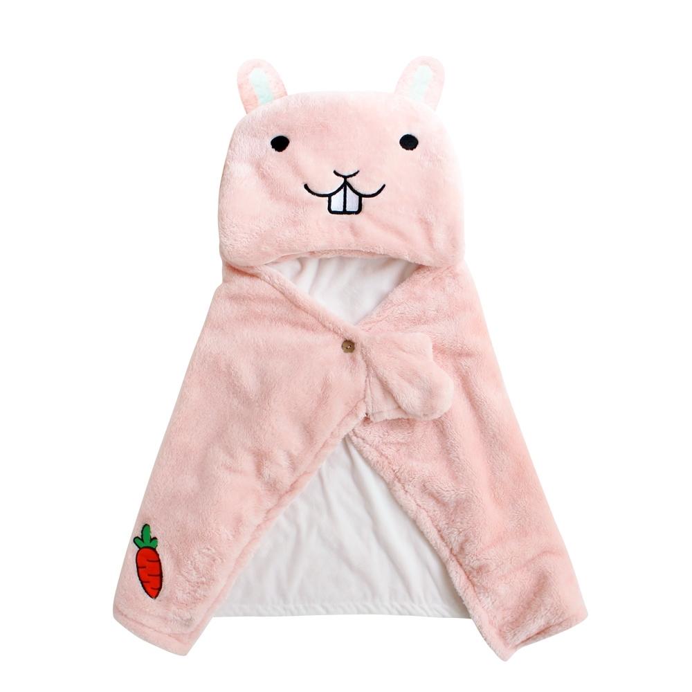 Baby 童衣 嬰兒套頭包被 抱毯 草泥馬造型羊羔絨抱被 92021(共四色)