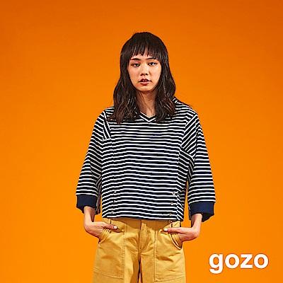gozo 條紋拼接金屬扣九分袖上衣(二色)