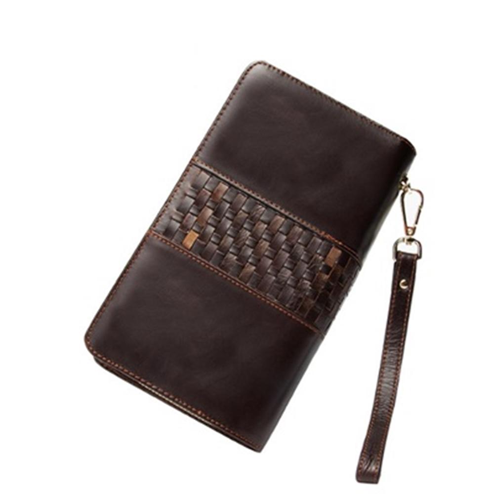 米蘭精品 手拿包真皮包包-復古編織紋雙拉鍊大容量男皮件情人節生日禮物73lu40