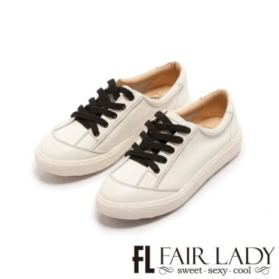 FAIR LADY SoftPower軟實力免綁鞋帶波浪厚底休閒鞋白