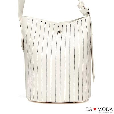 La Moda 通勤最佳單品車縫線條設計大容量肩背斜背子母包水桶包(白)