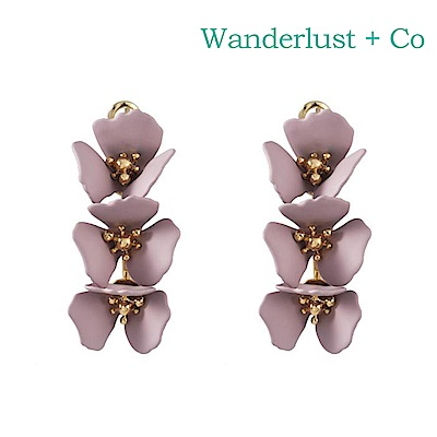 Wanderlust+Co 澳洲時尚品牌 CAMILLA蘭花系列 圓環造型耳環 粉紫色