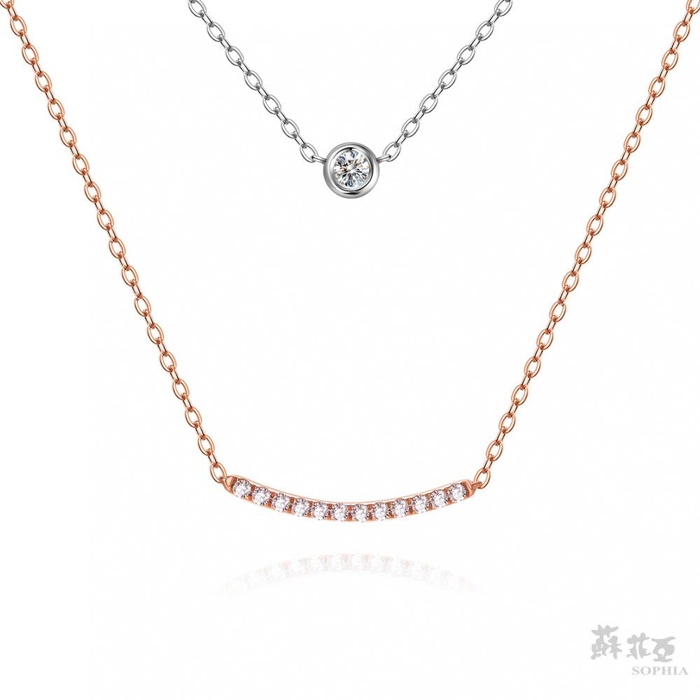 SOPHIA 蘇菲亞珠寶 - 任意依戀 14K雙色(玫瑰金+白金)白金 鑽石項鍊