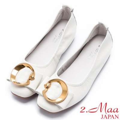 2.Maa 簡約柔軟牛皮飾扣平底包鞋 - 米白