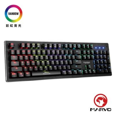 【MARVO魔蠍】KG909 彩虹混光機械式電競鍵盤-中文注音版