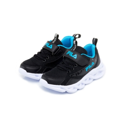 FILA KIDS 大童MD輕量慢跑鞋-黑藍 3-J801U-113