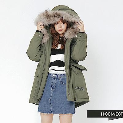 H:CONNECT 韓國品牌 女裝-連帽縮腰鋪棉外套-綠