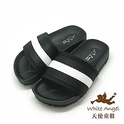 天使童鞋 法式條紋休閒拖鞋 J907-黑