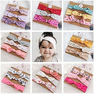 Baby童衣 三條入寶寶髮飾組 嬰兒蝴蝶結髮帶頭飾 女寶寶布藝髮飾 88186