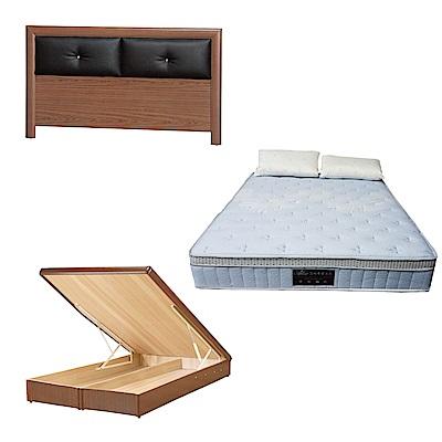 綠活居 盧戈6尺雙人加大床台三式組合(床頭片+後掀床底+天絲獨立筒床墊)五色可選
