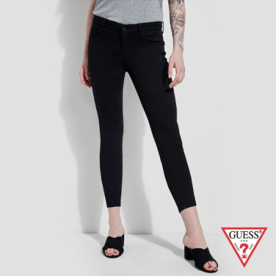 GUESS-女裝-簡約率性直筒九分牛仔褲-黑