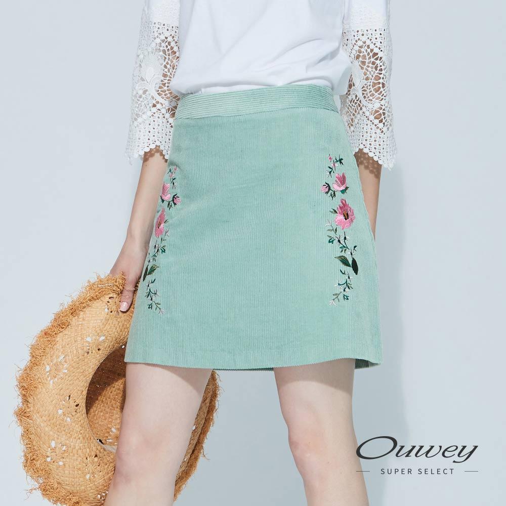 OUWEY歐薇 簡約花草條紋絨褲裙(綠)