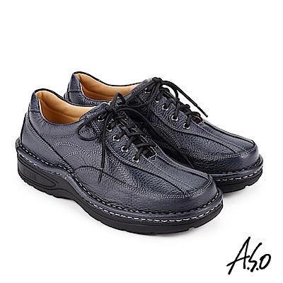 A.S.O 抗震雙核心 綁帶奈米氣墊休閒皮鞋 深藍