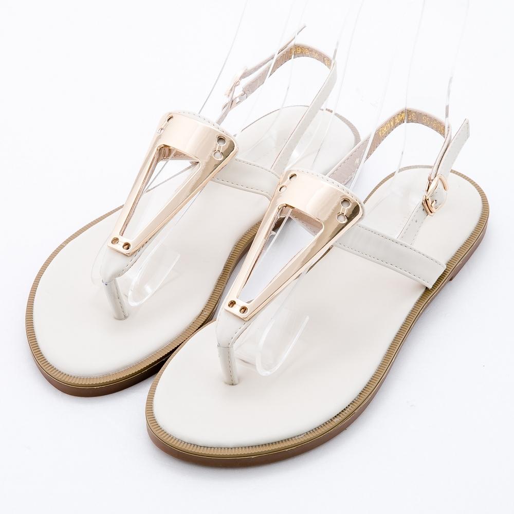 River&Moon大尺碼女鞋 三角金屬T字夾腳平底涼拖 米