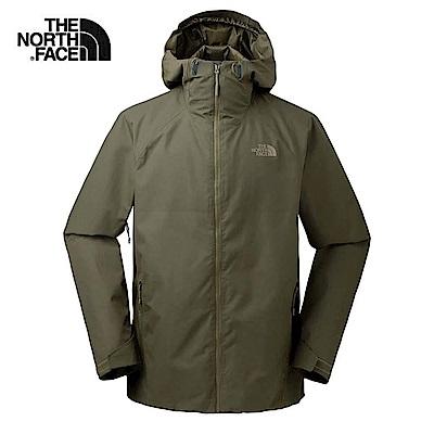 The North Face北面男款軍綠色防水透氣連帽衝鋒衣 3O877JR
