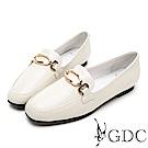 GDC-真皮方頭金釦氣質上班樂福跟鞋-米色