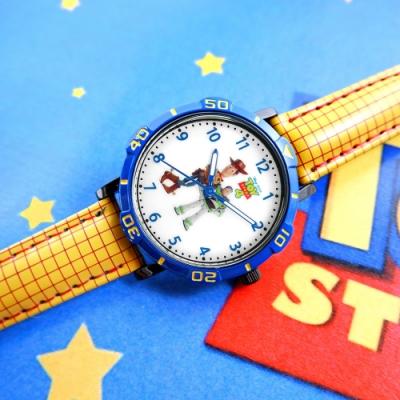 Disney 迪士尼 玩具總動員 胡迪 巴斯光年 兒童卡通 皮革手錶-白x藍x黃/32mm