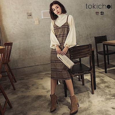 東京著衣 百看不膩磨毛英倫風格紋吊帶裙-S.M(共二色)