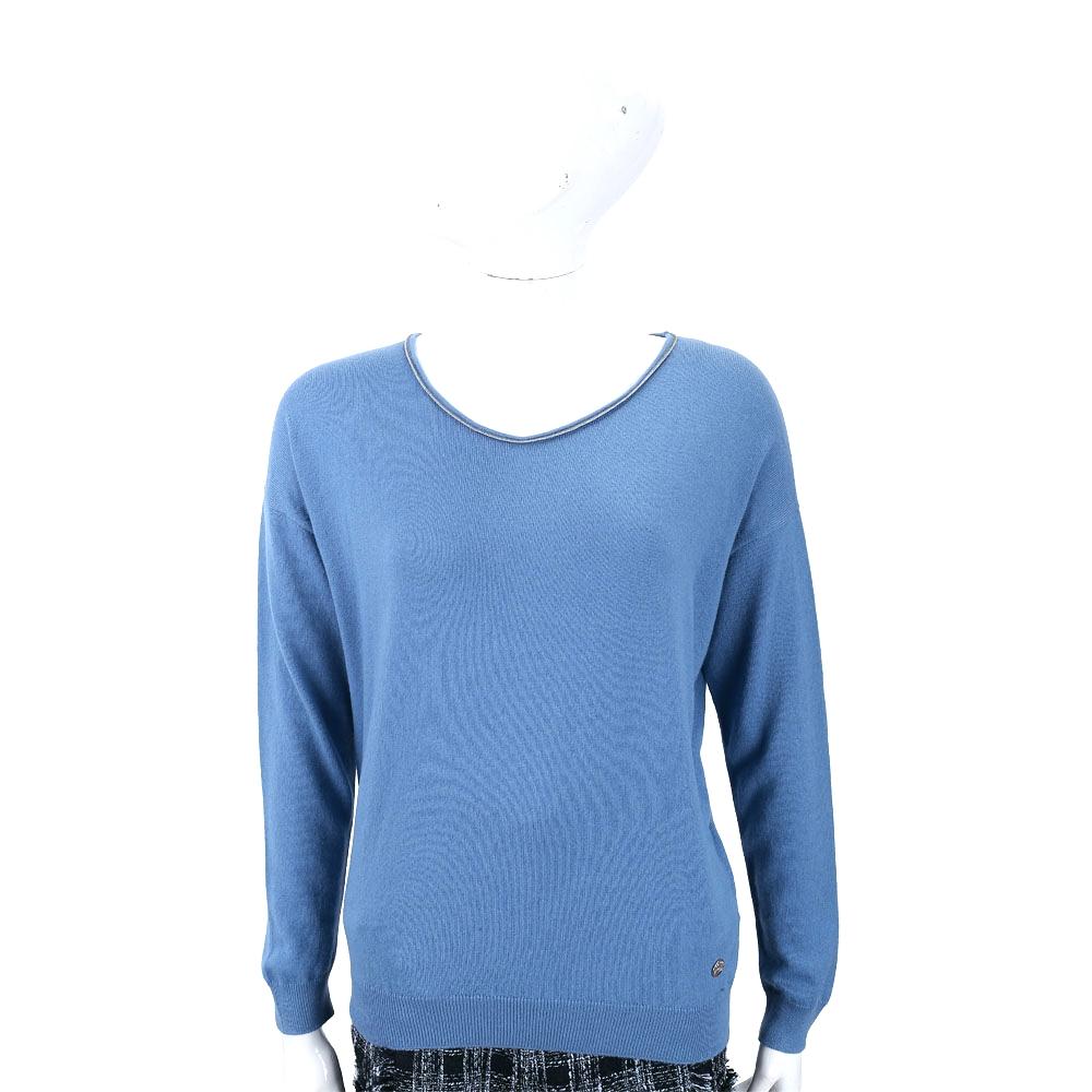 Andre Maurice 喀什米爾撞色捲邊細節蔚藍色羊毛衫
