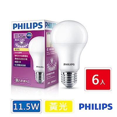 飛利浦 PHILIPS 第7代 舒視光 11.5W LED燈泡-黃光6入組