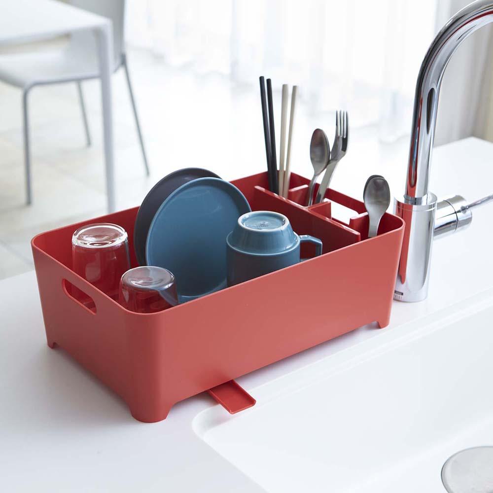 【YAMAZAKI】AQUA洗滌瀝水兩用籃-紅★置物架/多功能收納/廚房用品/居家收納