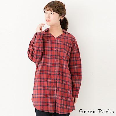 Green Parks 舒適感V領格紋長版襯衫上衣