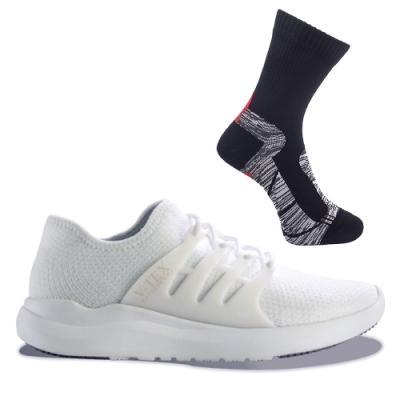 【V-TEX】地表最強 時尚針織耐水防水鞋+防水襪 L號特惠組(珍珠白-男)