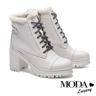 短靴 MODA Luxury 都會時髦牛皮綁帶防水台粗高跟短靴-白