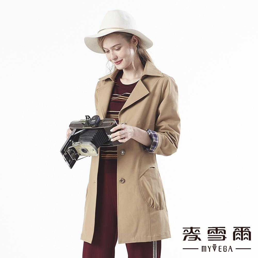 【麥雪爾】經典英式百搭長版風衣外套