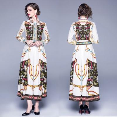【KEITH-WILL】魅力典雅印花款修身洋裝-1色