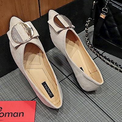 韓國KW美鞋館 女神同款舒適流線美身平底鞋-米色