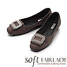 Fair Lady Soft芯太軟 迷人水鑽框飾方頭麂皮平底鞋 灰