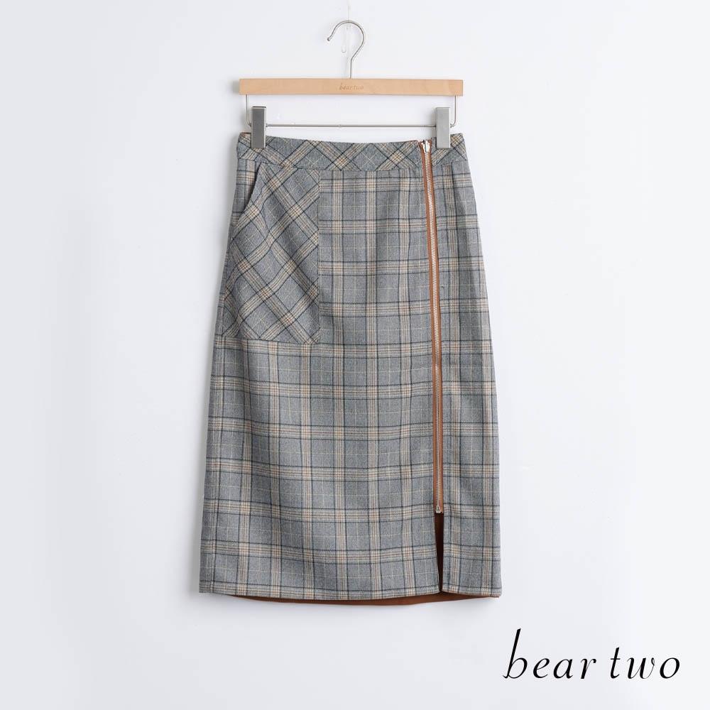 bear two- 格紋側拉鍊A字裙 - 黃
