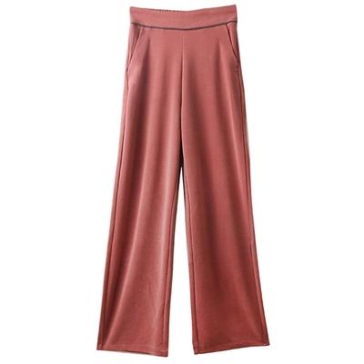 [韓國K.W.] 氣質風清爽涼感休閒褲-橡皮紅
