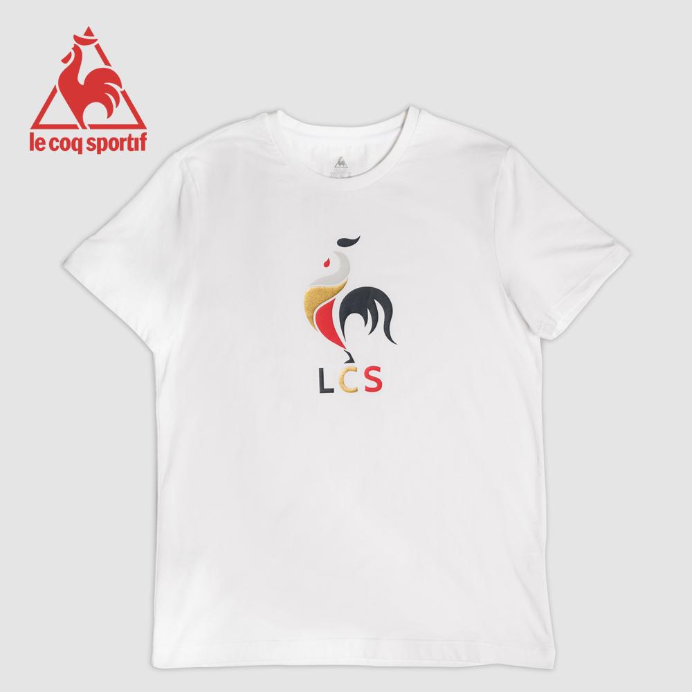 le coq sportif 法國公雞牌印花透氣短袖T恤 男女-白