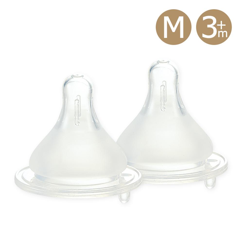 奇哥 親乳實感防脹氣奶嘴2入-寬口徑3m+