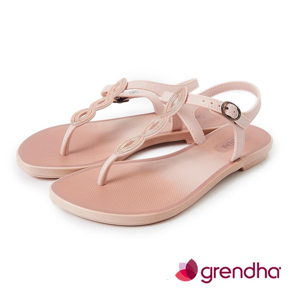 Grendha 典雅歐洲風平底涼鞋-粉膚色