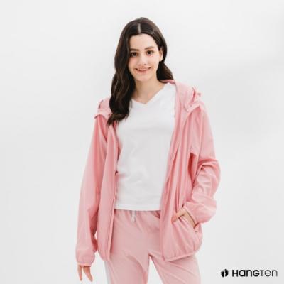 Hang Ten-中性款-恆溫多功能-防輕潑水自收防風外套-粉色