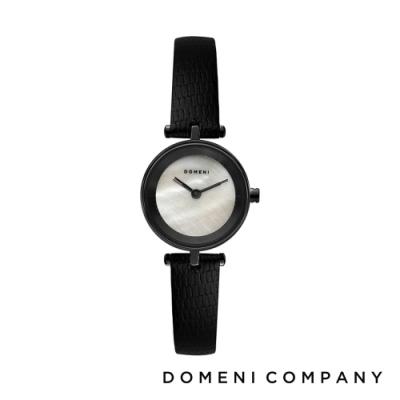 DOMENI COMPANY 經典迷你白珍珠錶盤系列 義大利小牛皮錶帶 黑錶框 -白/22mm