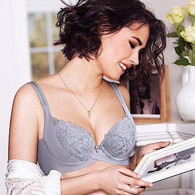 黛安芬-FLORALE璀璨薔薇透氧系列 B-E罩杯內衣 氣質灰