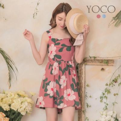 東京著衣-YOCO 春氛可愛後抓皺鬆緊無袖印花洋裝-S.M.L(共兩色)