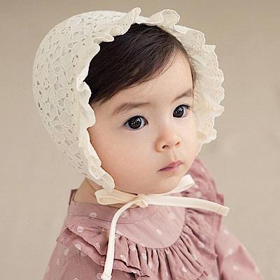 韓國 Happy Prince 荷葉邊蕾絲鏤空綁帶嬰兒帽
