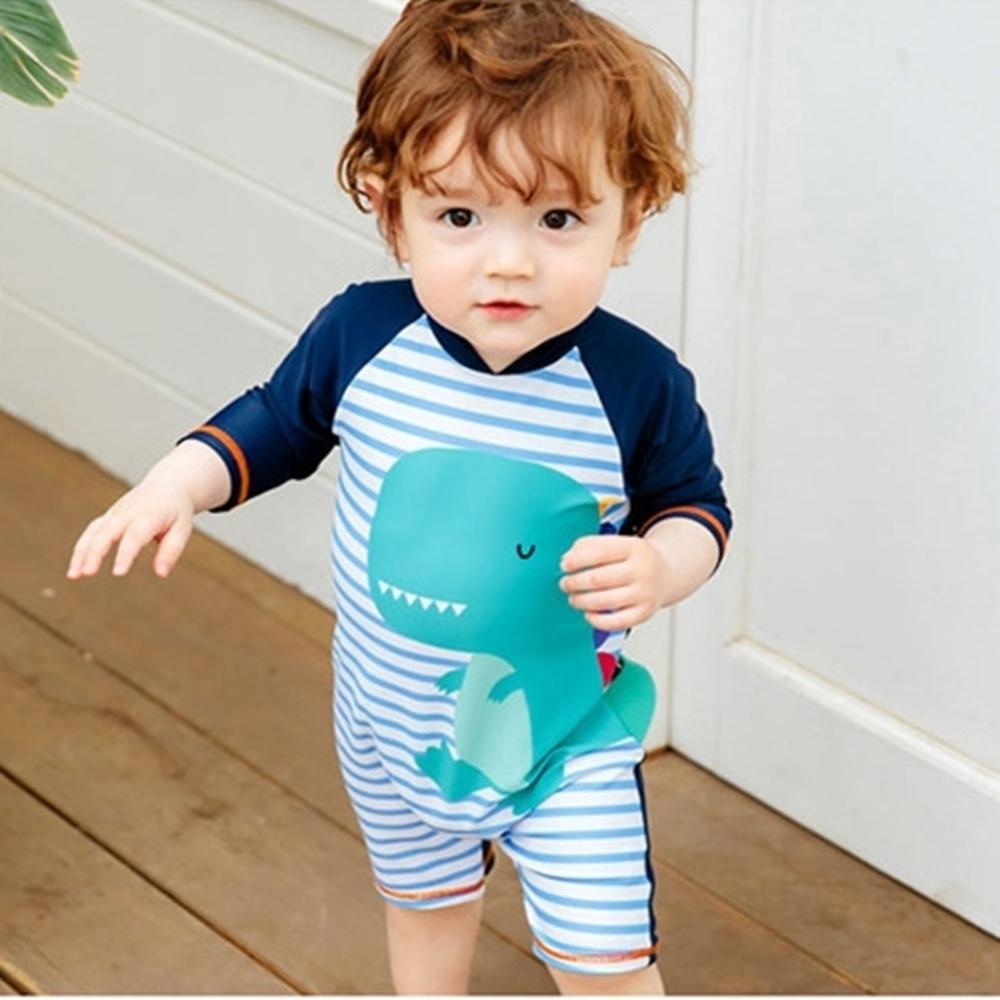 Baby童衣 男童連身泳衣 男孩寶寶恐龍泳裝 88319