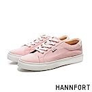 HANNFORT CAMPUS厚底帆布休閒鞋-女-玫瑰粉